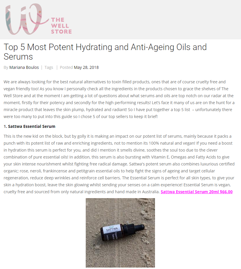 Sattwa Skincare Essential Serum - The Well Store
