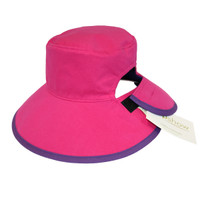 Reversible Ponytail Hat - Pink/Purple Cotton