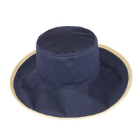 Reversible Ponytail Hat - Camel/Navy Cotton