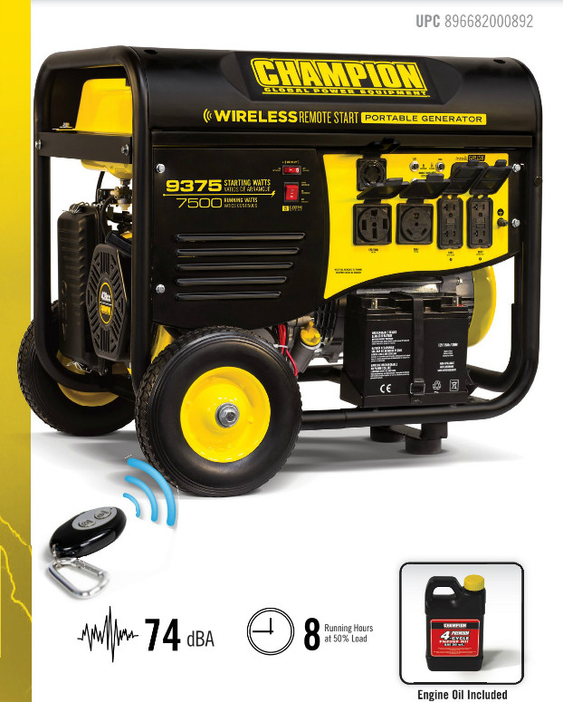CHAMPION 100161 7500/9375 Watts - Portable Generator Wireless Electric  Start CARB Compliant
