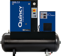 Quincy QGS-7.5 7.5-HP 60‐ Gallon Tank Mounted Rotary Screw Air Compressor With Dryer Triv/3/60