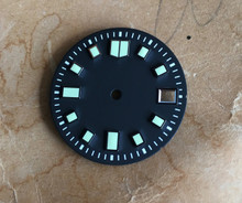 Custom Plain Seiko 6105 Dial Diver's Watch 7S26 NH35 Movement 2 Positiions Green Superluminova