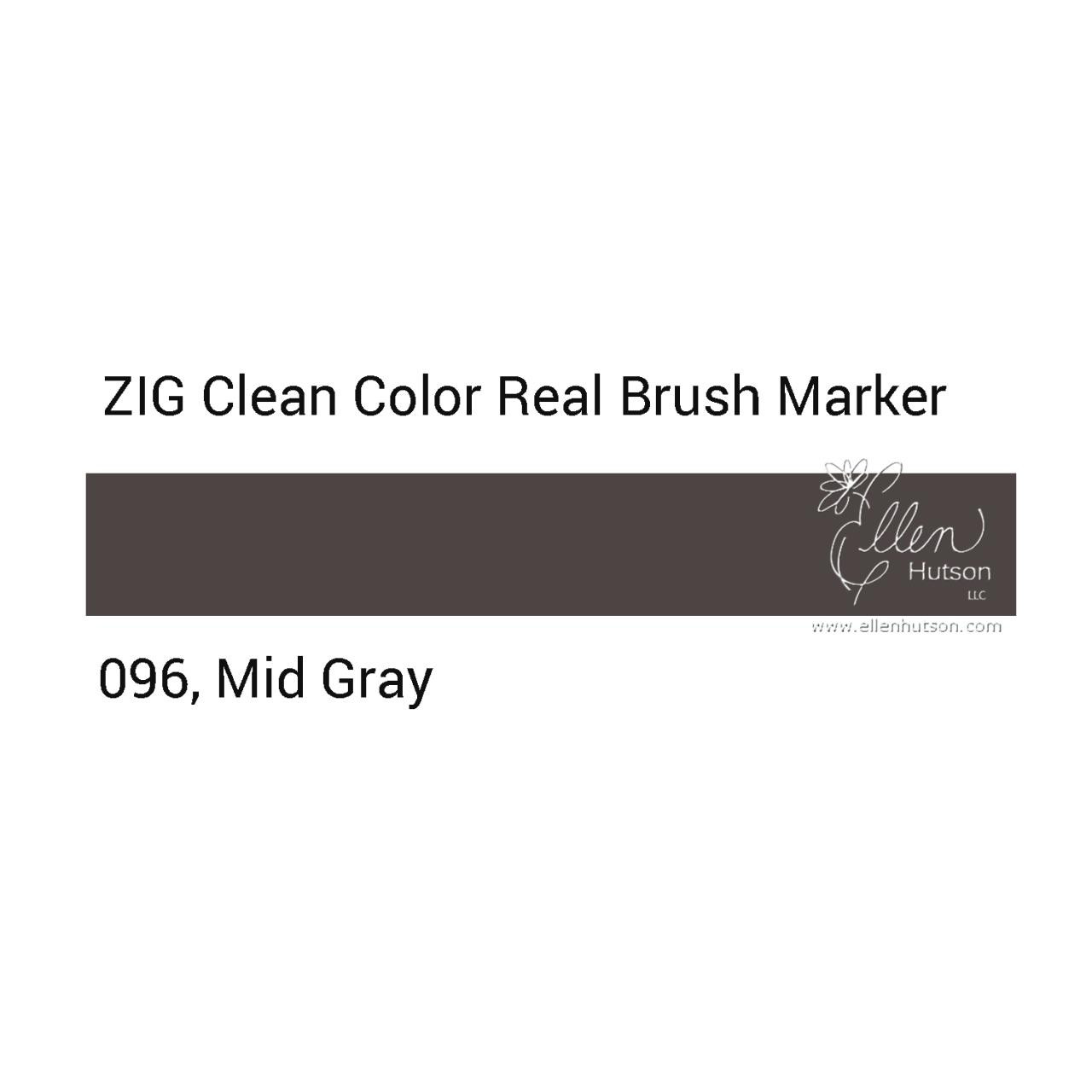 096 - Mid Gray, ZIG Clean Color Real Brush Marker -