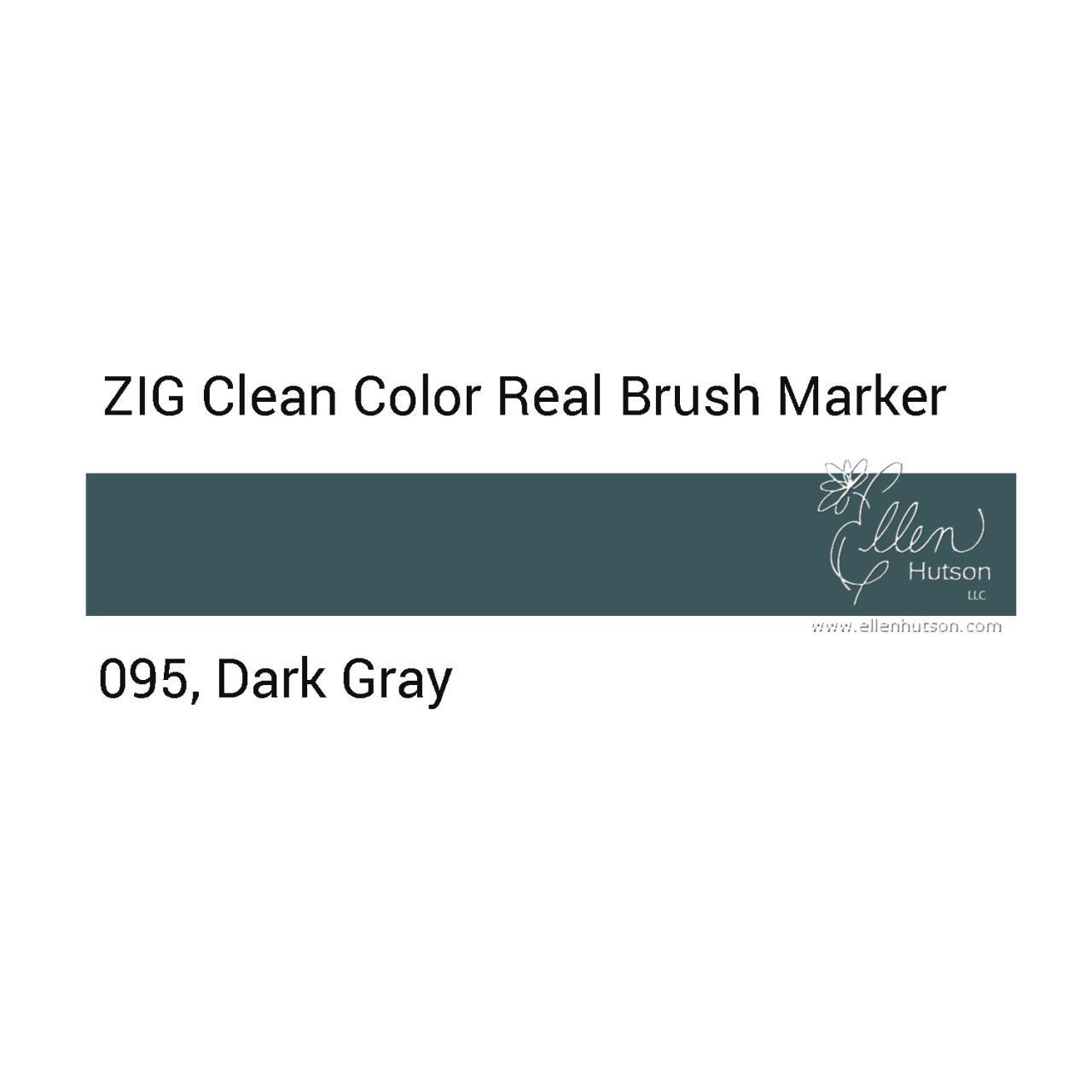095 - Dark Gray, ZIG Clean Color Real Brush Marker -