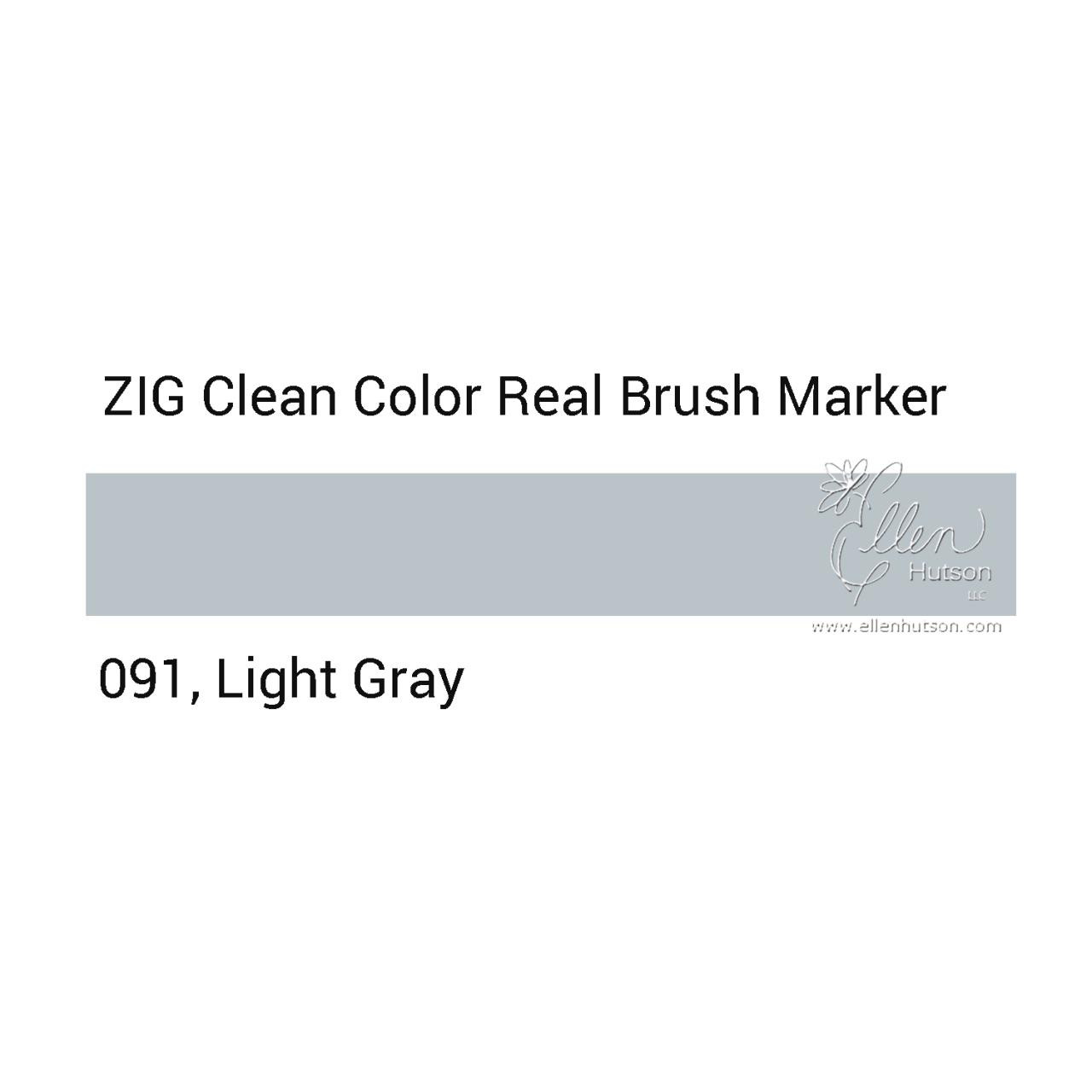 091 - Light Gray, ZIG Clean Color Real Brush Marker -