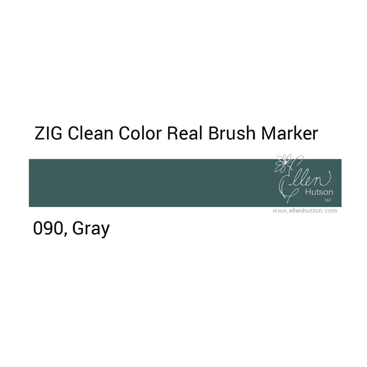 090 - Gray, ZIG Clean Color Real Brush Marker -
