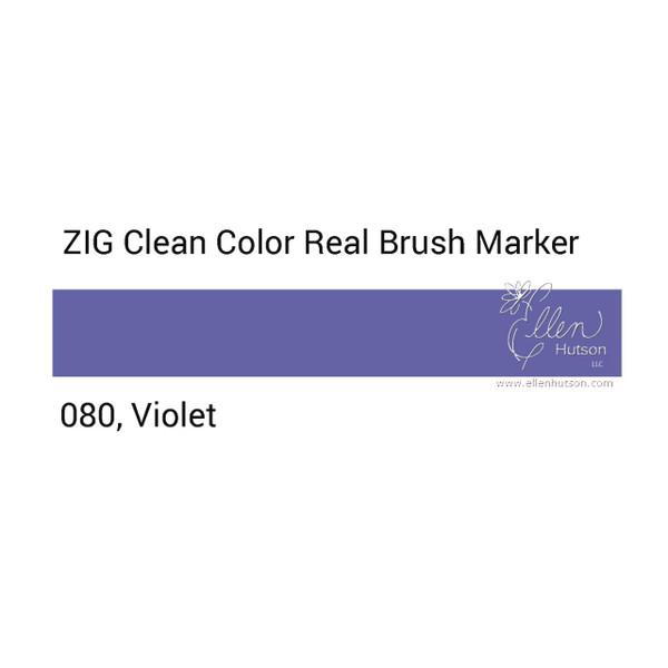 080 - Violet, ZIG Clean Color Real Brush Marker -