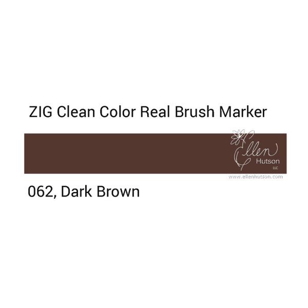 062 - Dark Brown, ZIG Clean Color Real Brush Marker -