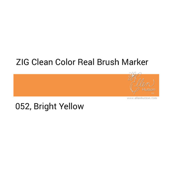 052 - Bright Yellow, ZIG Clean Color Real Brush Marker -