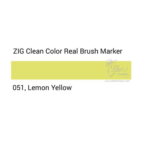 051 - Lemon Yellow, ZIG Clean Color Real Brush Marker -