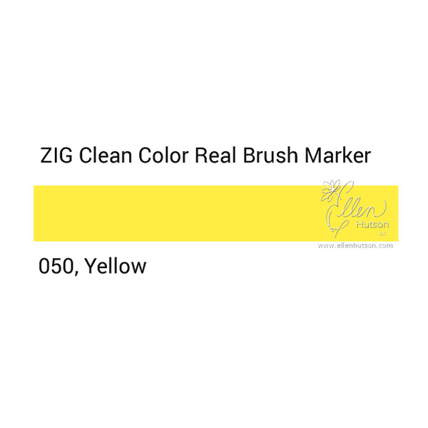 050 - Yellow, ZIG Clean Color Real Brush Marker -