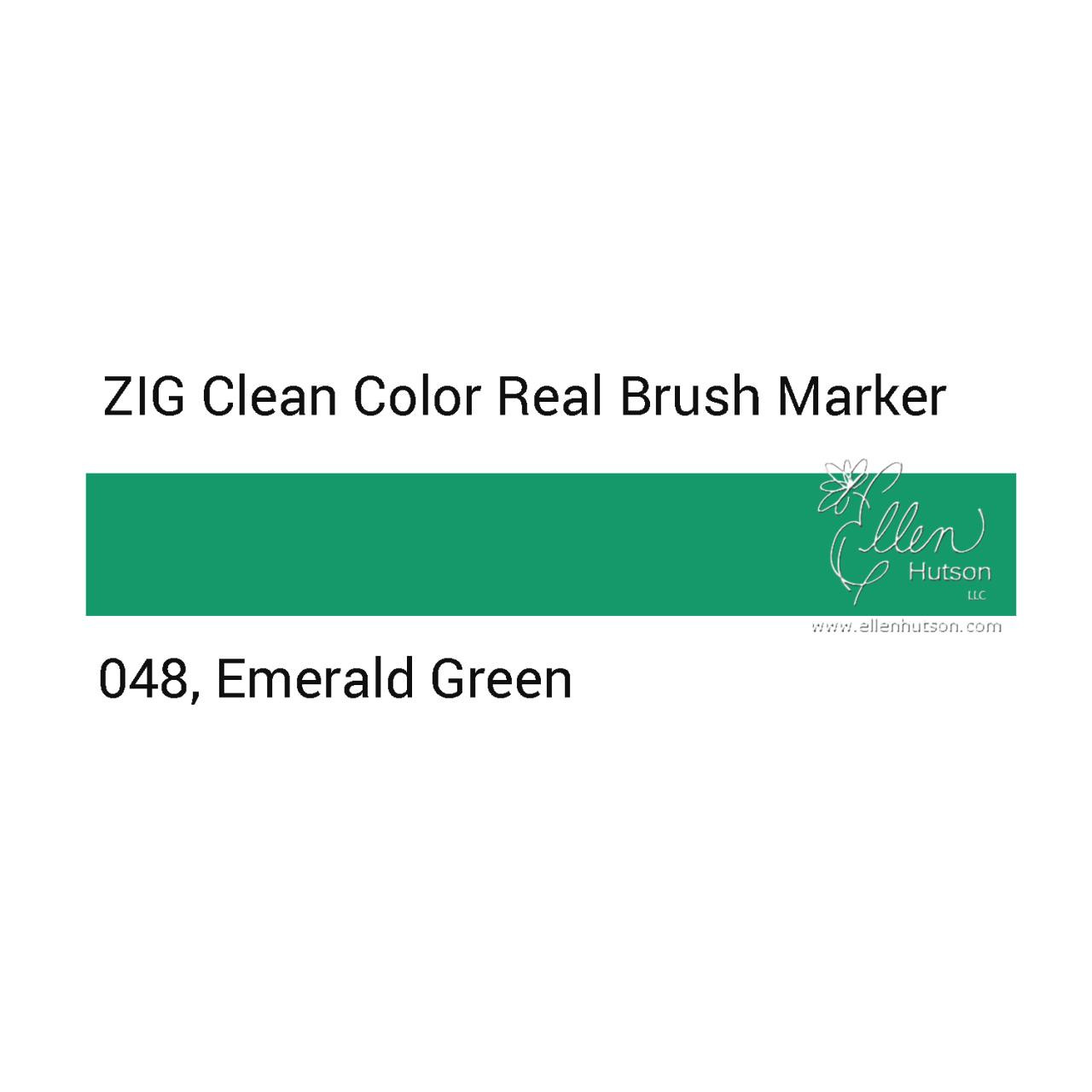 048 - Emerald Green, ZIG Clean Color Real Brush Marker -