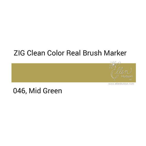 046 - Mid Green, ZIG Clean Color Real Brush Marker -