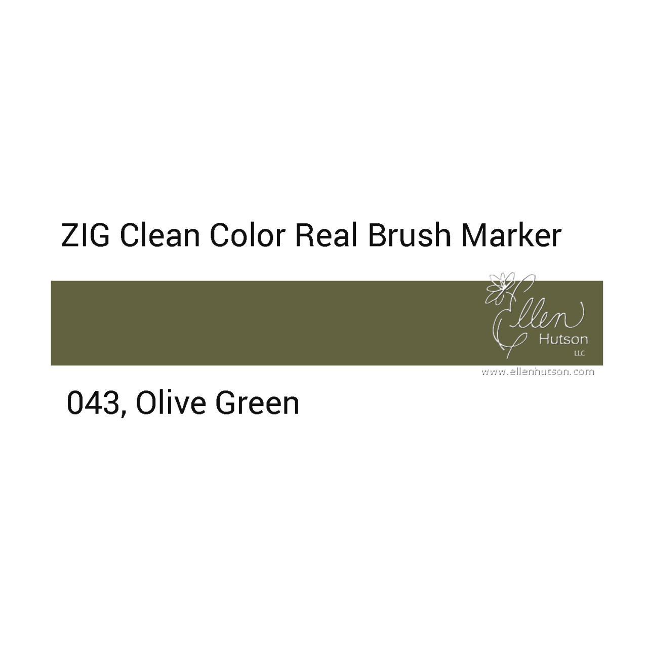043 - Olive Green, ZIG Clean Color Real Brush Marker -
