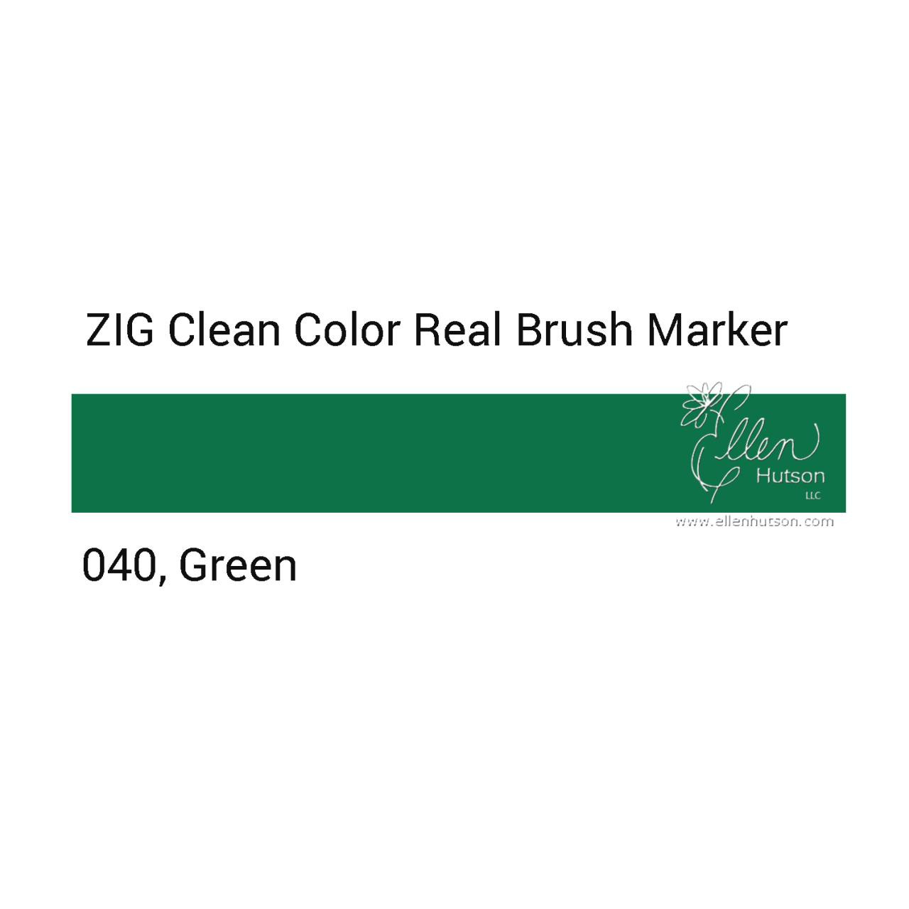 040 - Green, ZIG Clean Color Real Brush Marker -