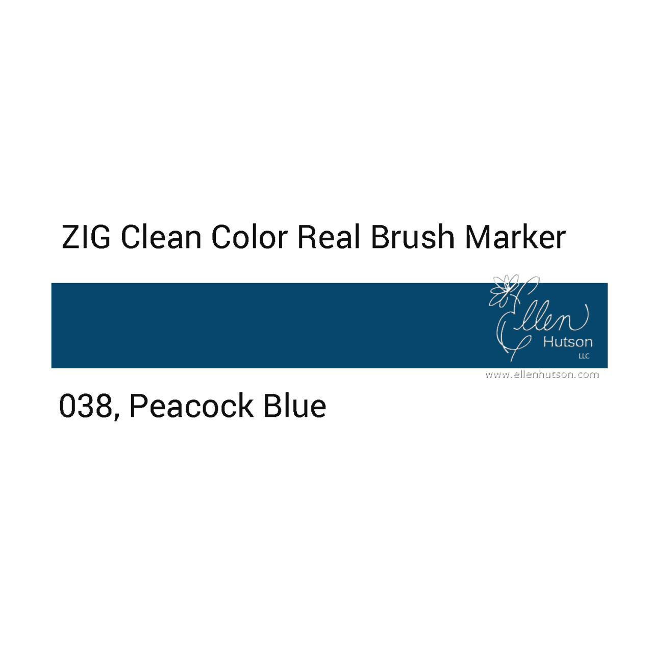 038 - Peacock Blue, ZIG Clean Color Real Brush Marker -