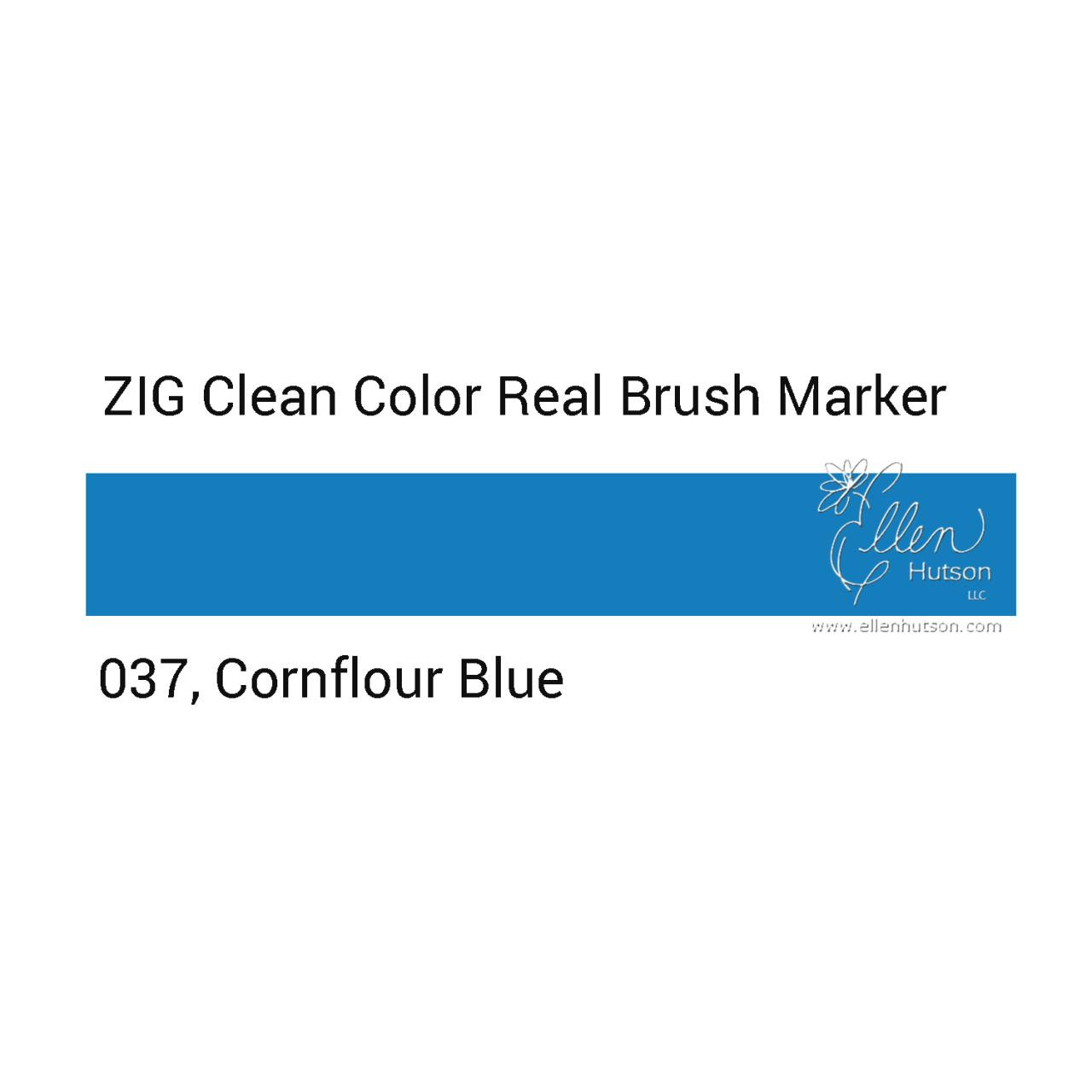037 - Cornflower Blue, ZIG Clean Color Real Brush Marker -