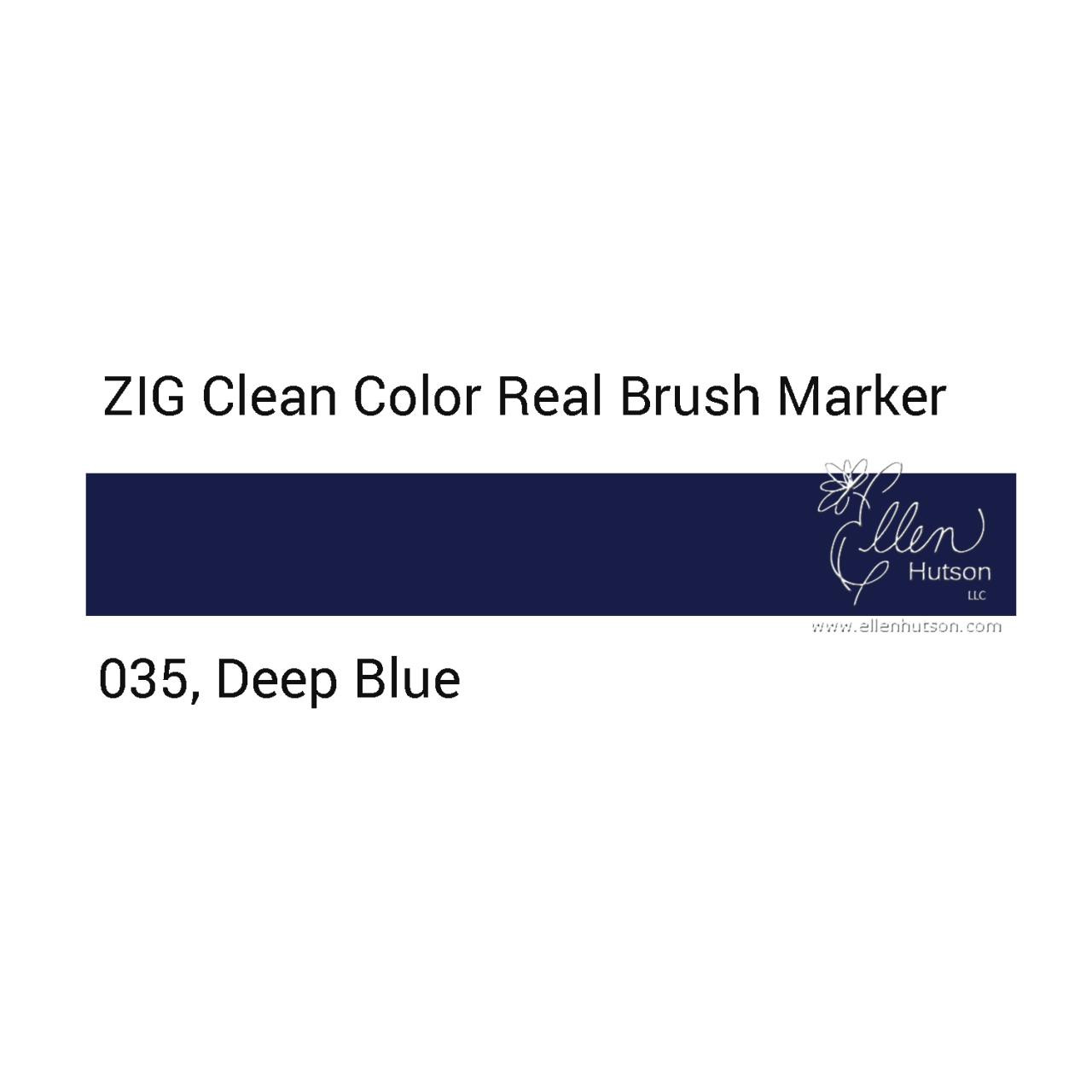 035 - Deep Blue, ZIG Clean Color Real Brush Marker -