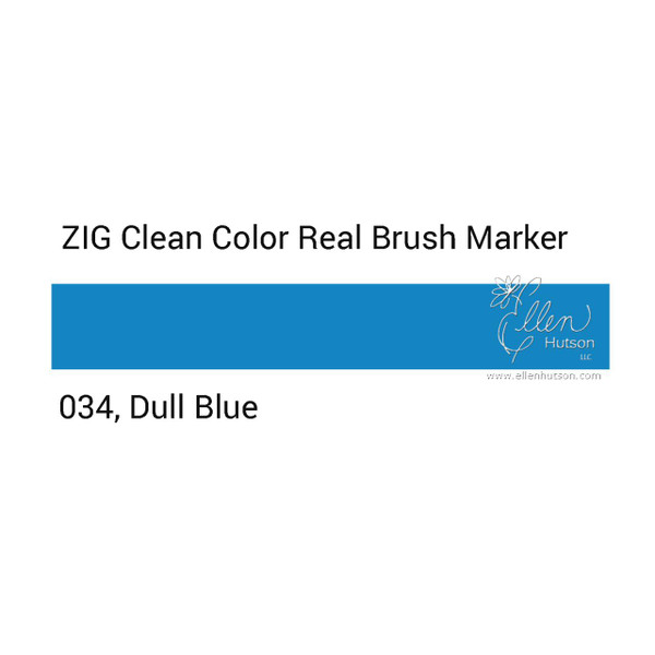 034 - Dull Blue, ZIG Clean Color Real Brush Marker -