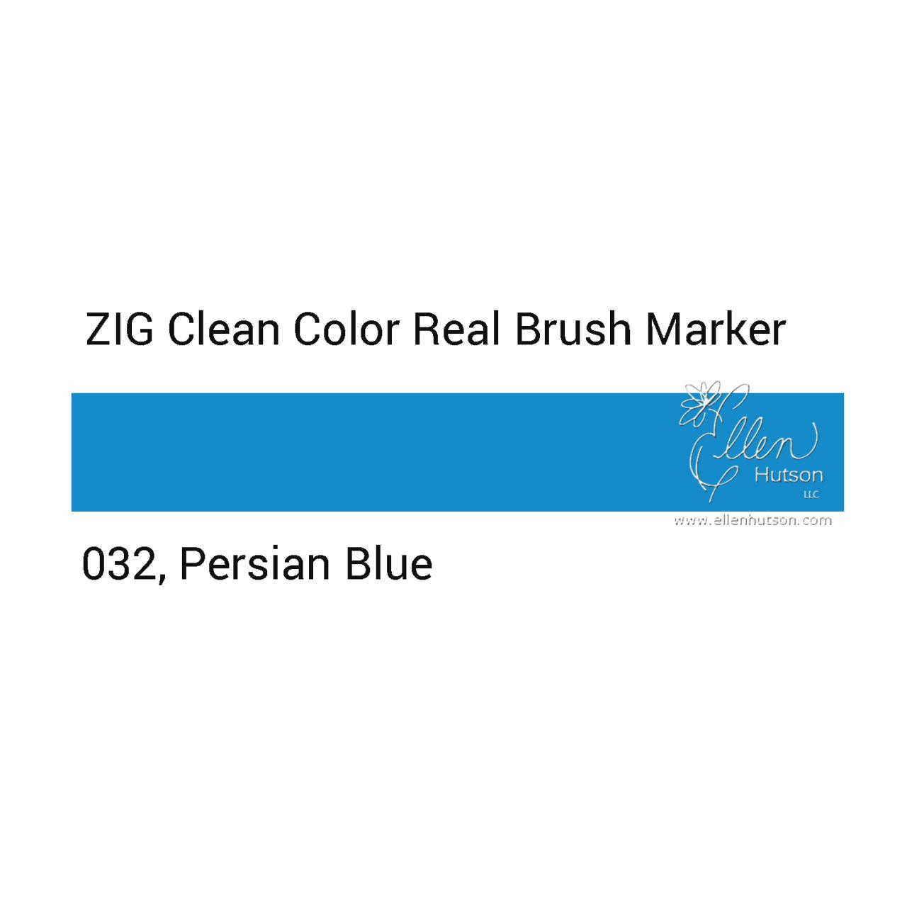 032 - Persian Blue, ZIG Clean Color Real Brush Marker -