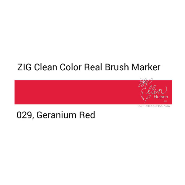 029 - Geranium Red, ZIG Clean Color Real Brush Marker -