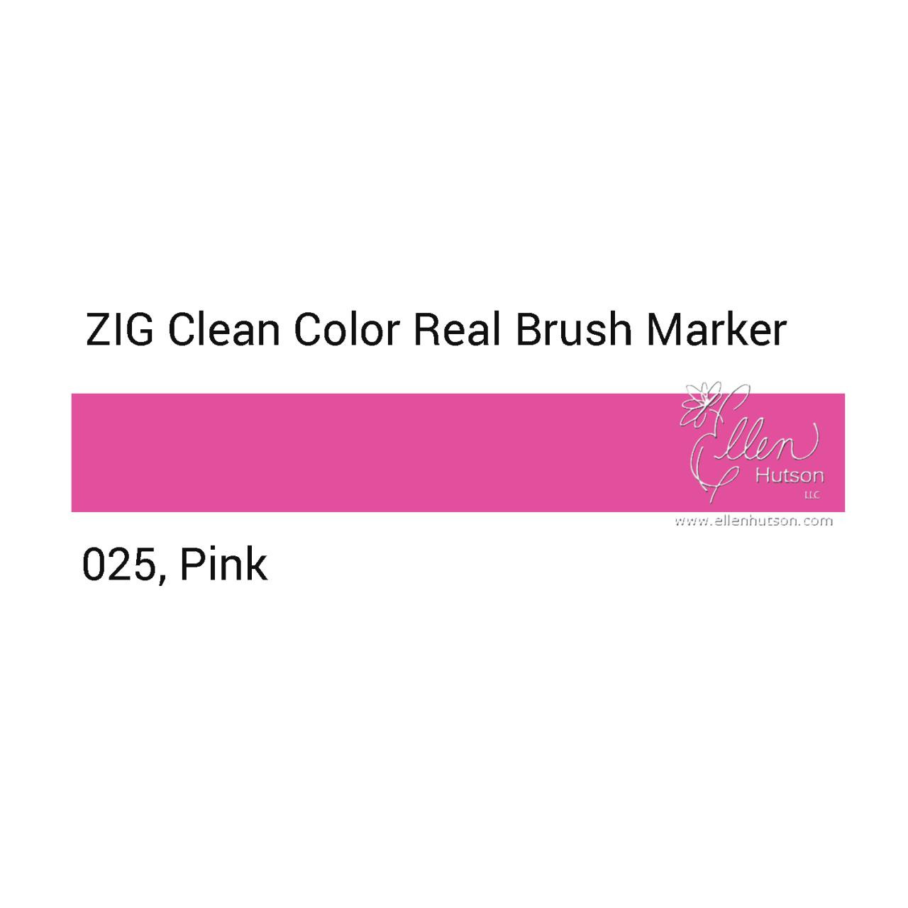 025 - Pink, ZIG Clean Color Real Brush Marker -