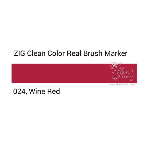 024 - Wine Red, ZIG Clean Color Real Brush Marker -