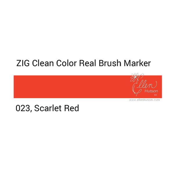 023 - Scarlet Red, ZIG Clean Color Real Brush Marker -