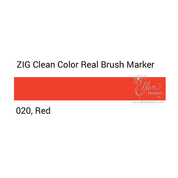 020 - Red, ZIG Clean Color Real Brush Marker -