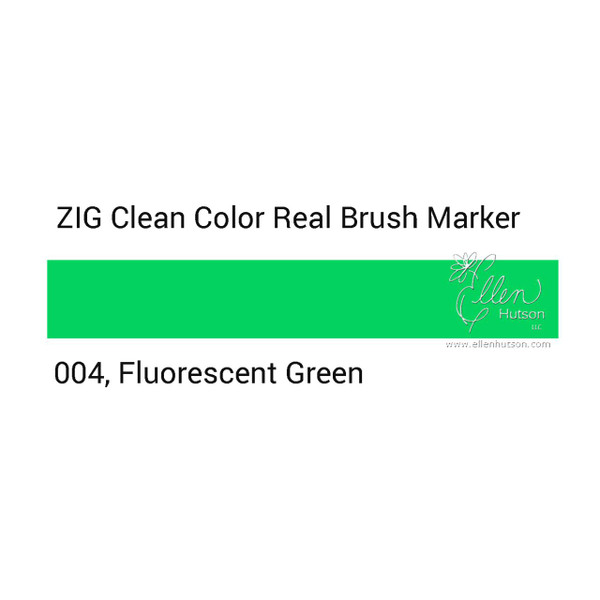 004 - Fluorescent Green, ZIG Clean Color Real Brush Marker -