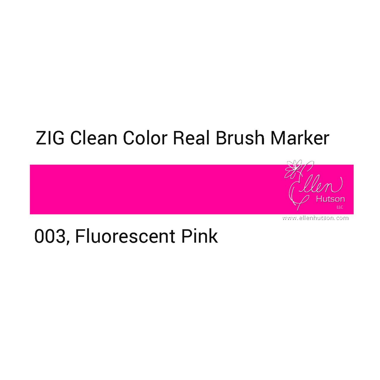 003 - Fluorescent Pink, ZIG Clean Color Real Brush Marker -
