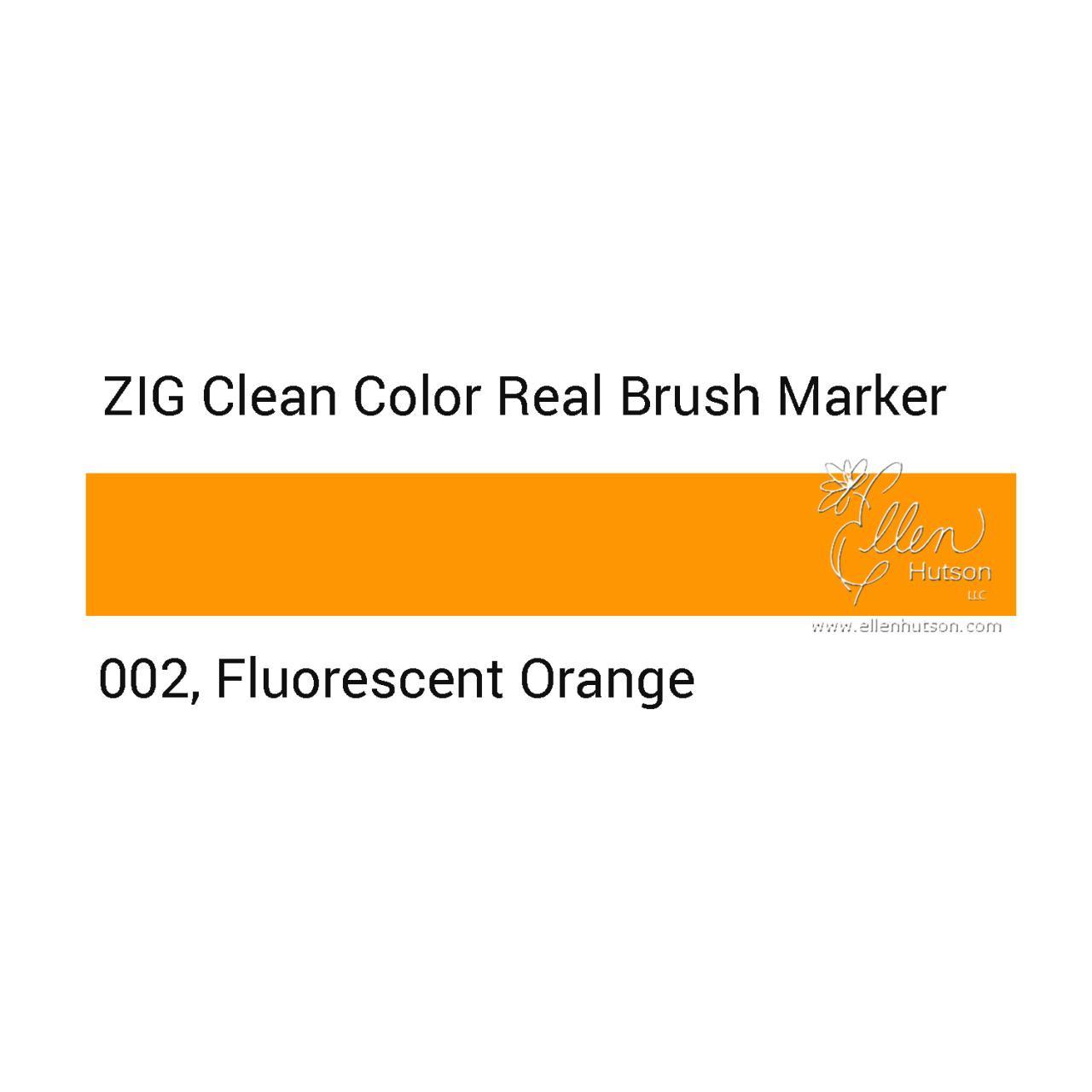 002 - Fluorescent Orange, ZIG Clean Color Real Brush Marker -