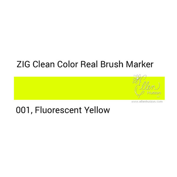 001 - Fluorescent Yellow, ZIG Clean Color Real Brush Marker -