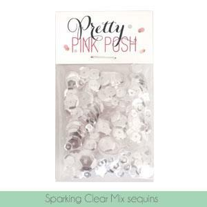Sparkling Clear Mix (4mm, 6mm, 8mm &10mm ), Pretty Pink Posh Sequins -