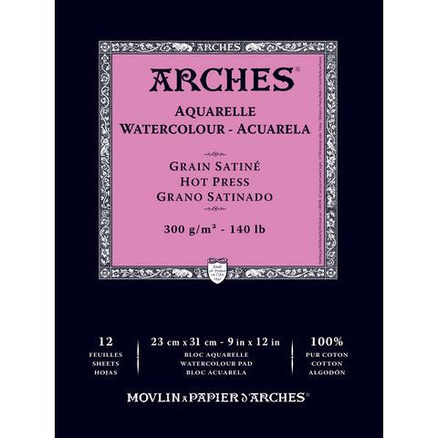 Hot Press Watercolor Paper Pad 9x12, Canson Arches French Bound -