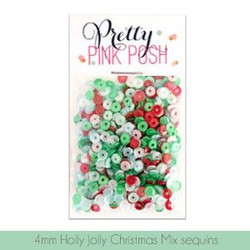 4mm Cupped, Holly Jolly Christmas Mix, Pretty Pink Posh Sequins -