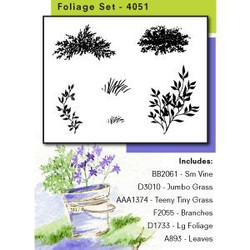 Watercolor Foliage, Art Impressions Cling Stamps -