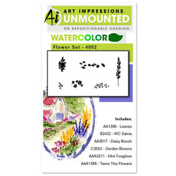 Watercolor Flower, Art Impressions Cling Stamps -