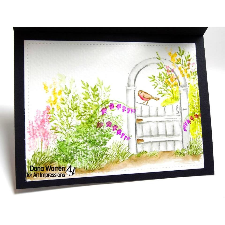 Watercolor Wooden Gate, Art Impressions Cling Stamps - 608729392118