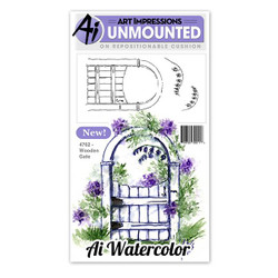 Watercolor Wooden Gate, Art Impressions Cling Stamps -