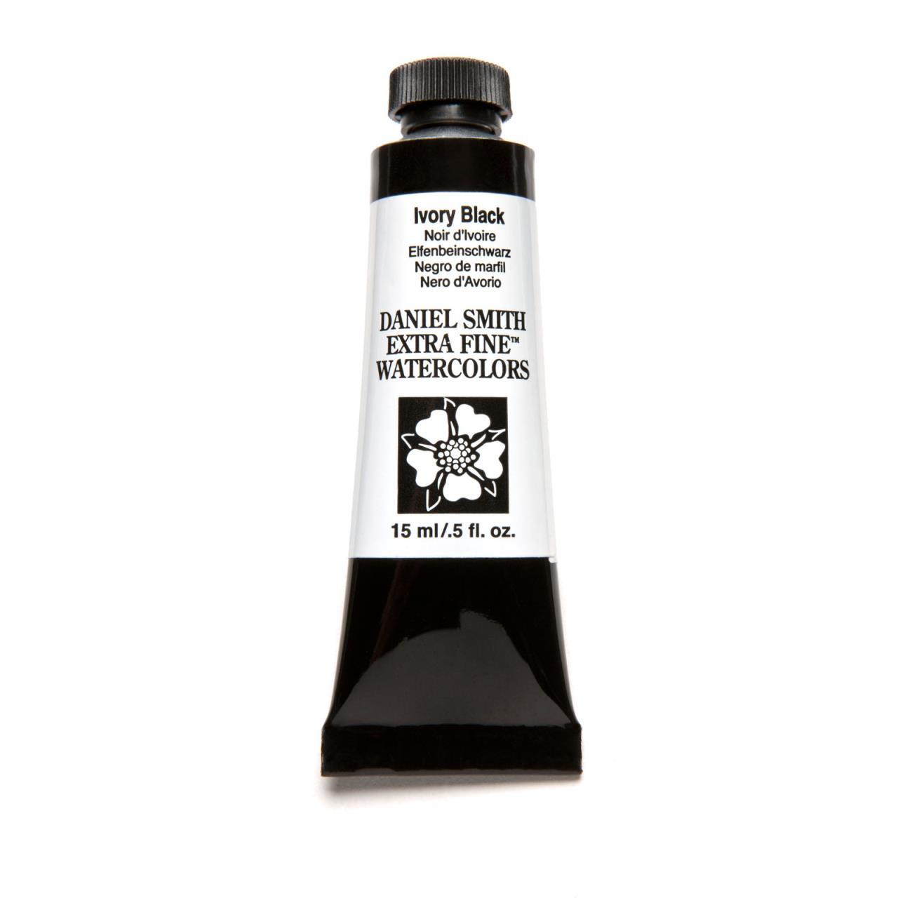 Ivory Black, DANIEL SMITH Extra Fine Watercolors 15ml Tubes -