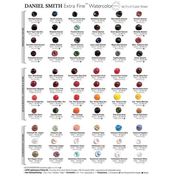 66 Colors, DANIEL SMITH Extra Fine Watercolor Dot Chart -