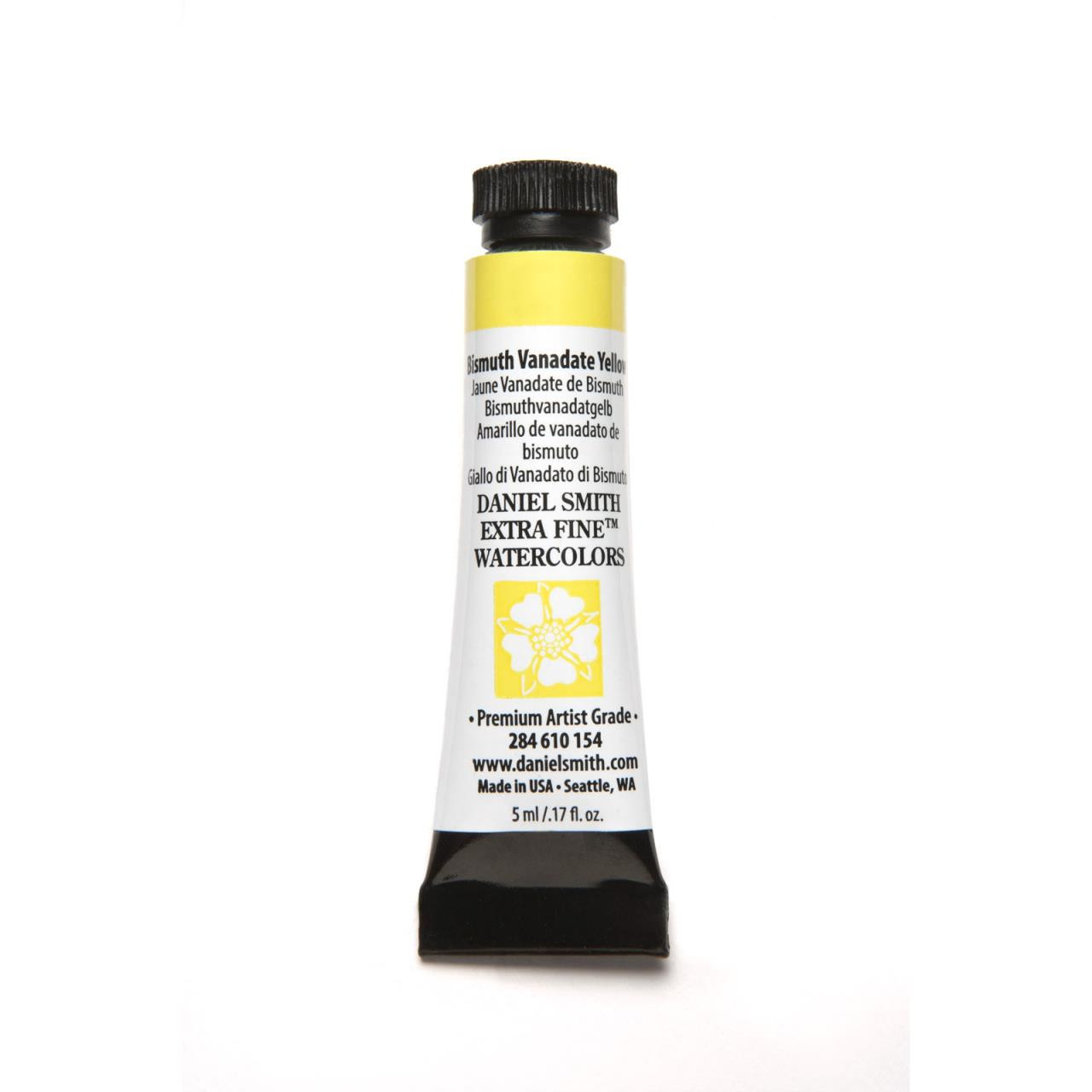 Bismuth Vanadate Yellow, DANIEL SMITH Extra Fine Watercolors 5ml Tubes -