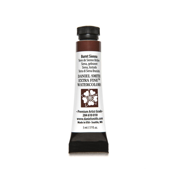 Burnt Sienna, DANIEL SMITH Extra Fine Watercolors 5ml Tubes -