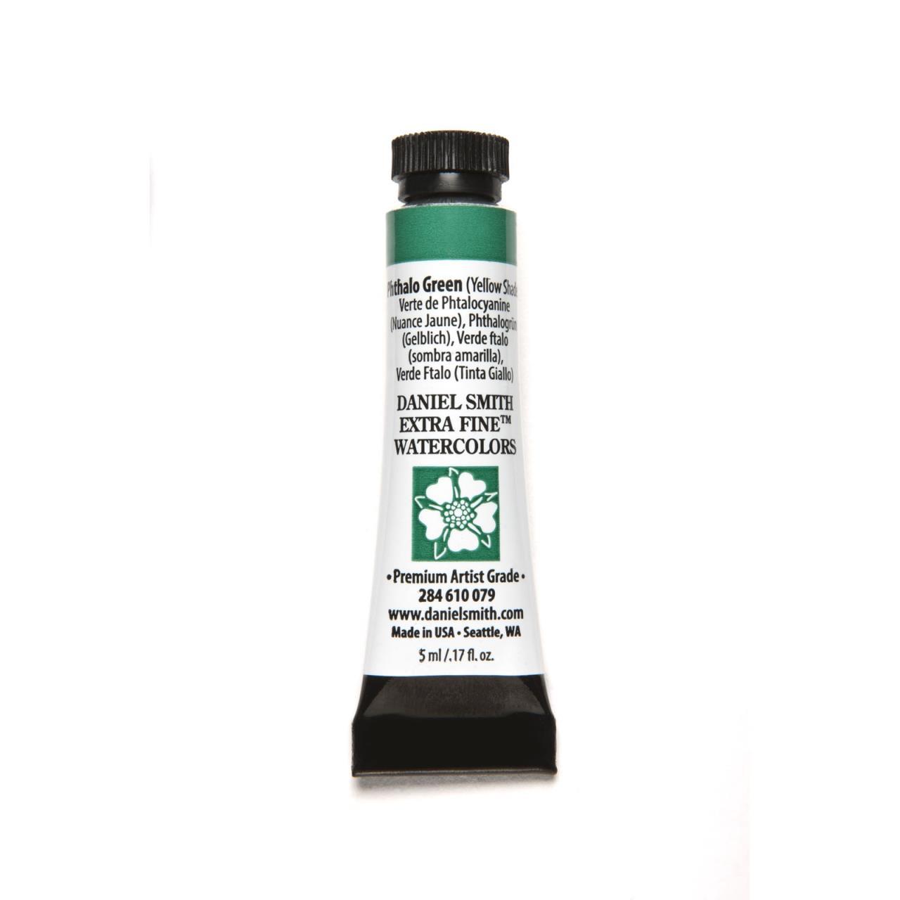 Phthalo Green - Yellow Shade, DANIEL SMITH Extra Fine Watercolors 5ml Tubes -