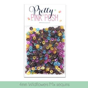 4mm Cupped, Wildflower Mix, Pretty Pink Posh Sequins -