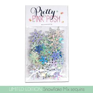 Limited Edition Holiday Snowflake Mix, Pretty Pink Posh Sequins -