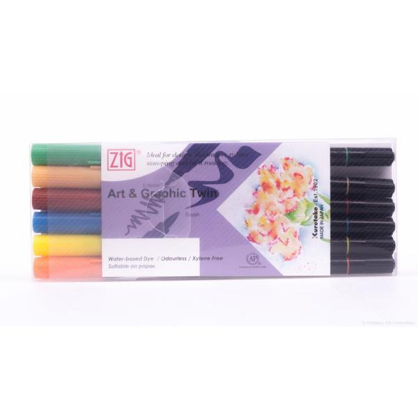 Zig Art & Graphic Twin Tip Marker, Vivid set of 6 - 847340016687