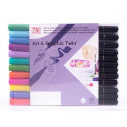 Zig Art & Graphic Twin Tip Marker, Bright set of 12 - 847340016656