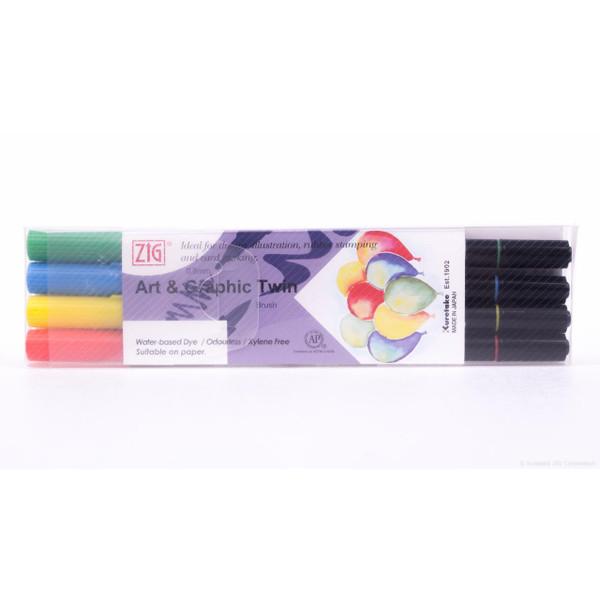 Zig Art & Graphic Twin Tip Marker, Core set of 4 - 847340016717
